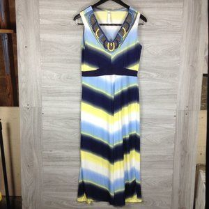 NY Collection Blue & Yellow Striped Jewelry Dress